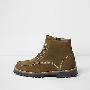 Boys khaki leather ankle boots