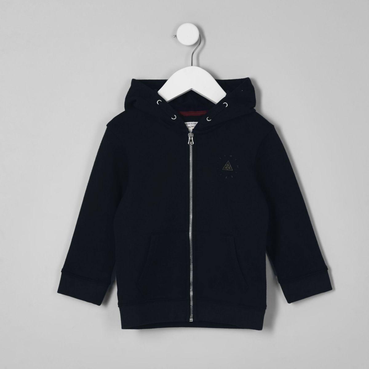 Mini boys navy zip up hoodie