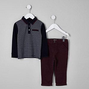 Mini - Outfit met marineblauwe polo en chino voor jongens