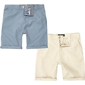 Multipack blauwe en crème chinoshorts voor jongens
