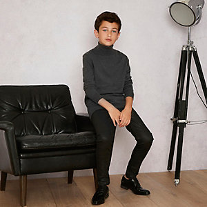 Boys grey RI studio roll neck sweater