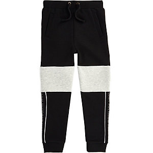 Boys black and grey blocked joggers