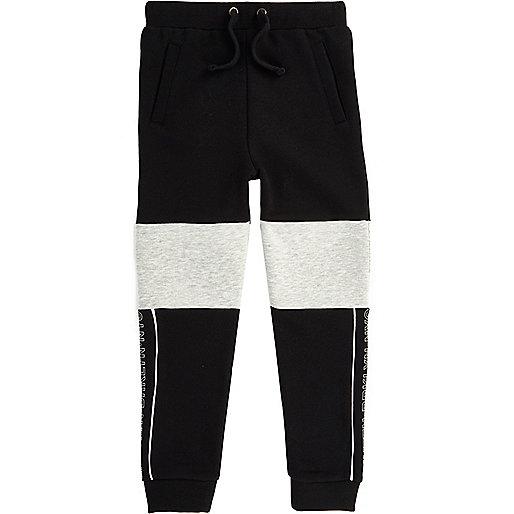 Boys black and grey blocked joggers