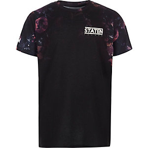 Boys black floral sleeve 'staten' T-shirt