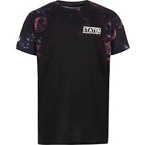 """Schwarzes T-Shirt """"Staten"""" mit Blumenmuster"""