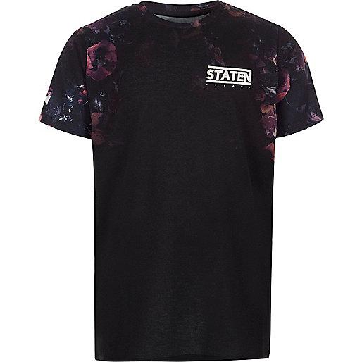 Boys black floral sleeve 'staten' T-shirt