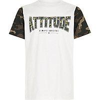 Boys white 'attitude' camo print T-shirt