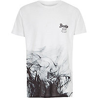 Boys white 'Brooklyn' smoke print T-shirt