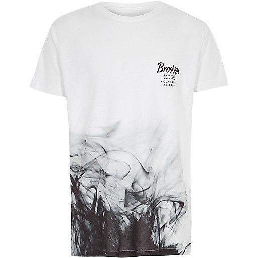 Boys white 'Brooklyn' smoke print T-shirt