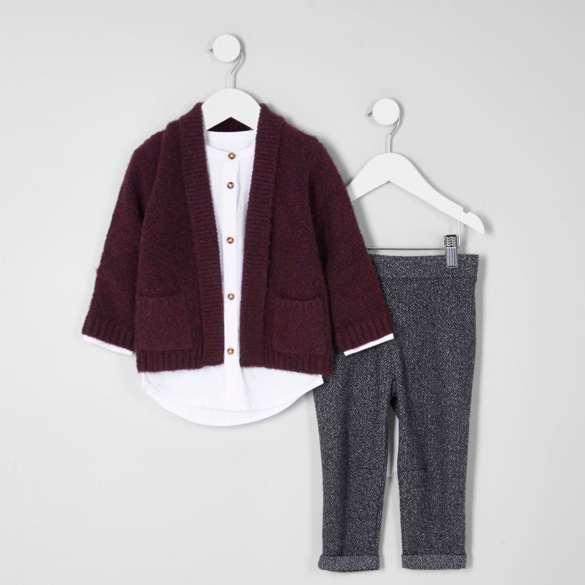 Mini boys red cardigan and white shirt outfit