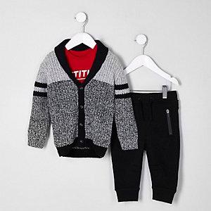 Mini – Schwarzes Outfit mit Strickjacke in Blockfarben, für Jungen