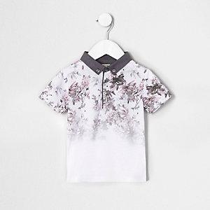 Mini - Wit poloshirt met bloemenprint en kleurverloop voor jongens