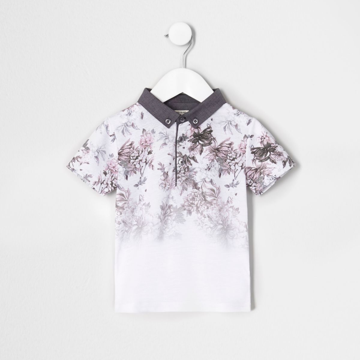 Mini boys white floral print fade polo shirt