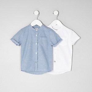 Mini - Set met blauw en wit overhemd zonder kraag