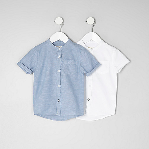 Mini boys blue and white grandad shirt pack