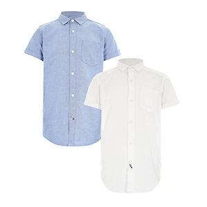 Multipack blauw en wit oxford overhemd voor jongens