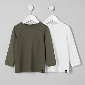 Mini boys khaki long sleeve T-shirt multipack