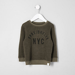 Mini boys khaki green 'NYC' sweatshirt