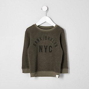 Mini - Kakigroen sweatshirt met 'NYC'-print voor jongens
