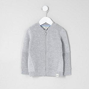 Mini boys grey waffle jersey bomber jacket