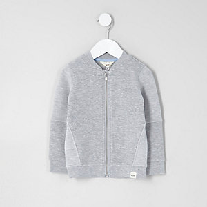 Blouson en jersey gris gaufré mini garçon