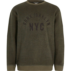Boys khaki 'NYC' embroidered sweatshirt