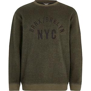 Boys khaki 'NYC' embroidered sweatshirt