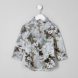Mini boys white floral geo print shirt