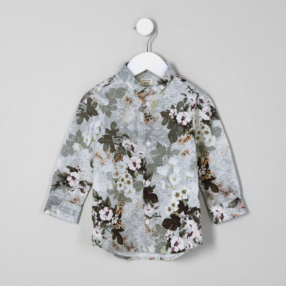 Mini boys white floral geo print shirt