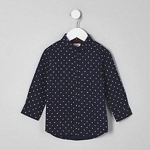 Chemise à pois bleu marine mini garçon