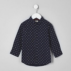 Mini - Marineblauw overhemd met stippen voor jongens