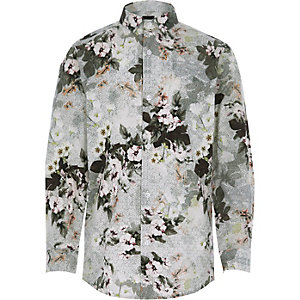 Boys white floral geo print shirt