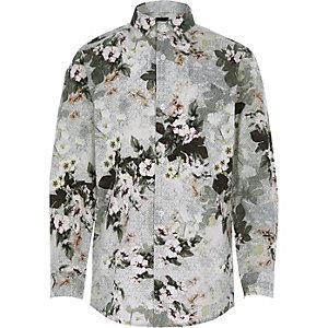 Boys white floral geo print shirt