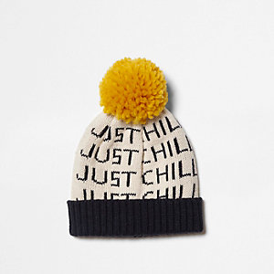 Mini boys cream 'just chill' knit beanie hat