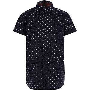 Boys navy polka dot short sleeve shirt