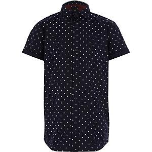 Boys navy polka dot short sleeve shirt