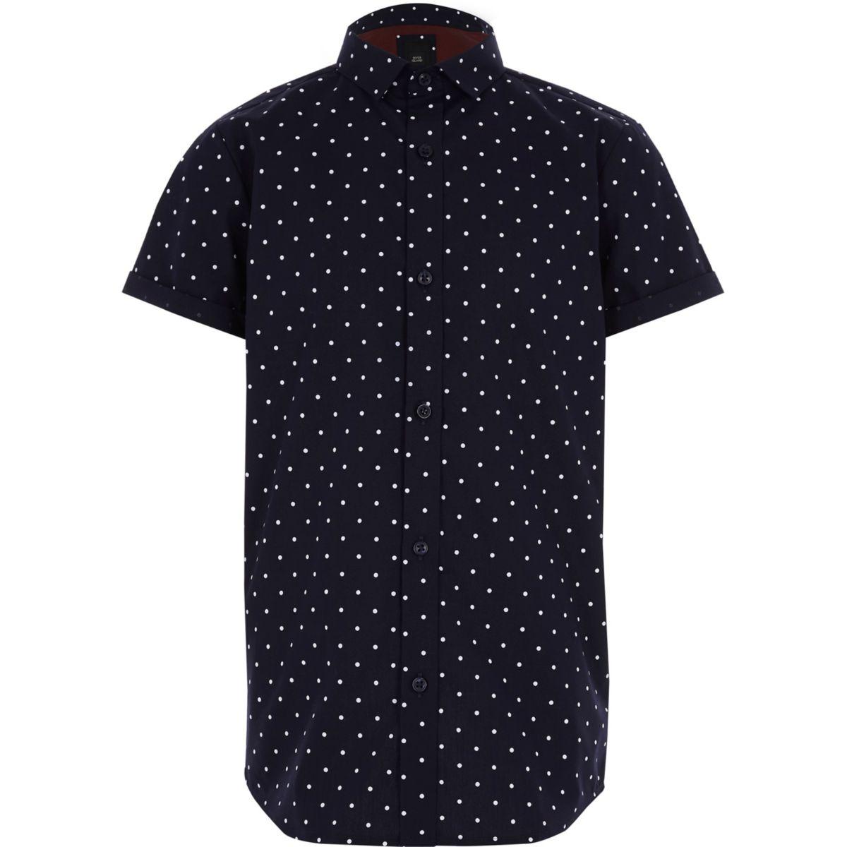 Boys Navy Polka Dot Short Sleeve Shirt Short Sleeve