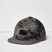 Mini boys grey camo felt flat peak cap