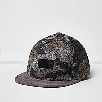 Mini boys grey camo felt flat peak cap