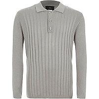 Boys grey ribbed long sleeve polo shirt