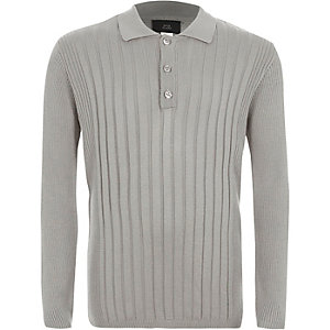 Boys grey ribbed long sleeve polo shirt