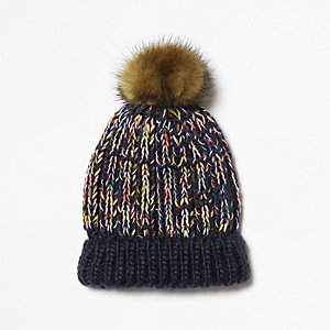 Mini boys navy knit bobble beanie hat