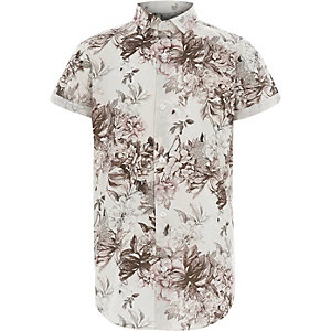 Boys white floral print short sleeve shirt