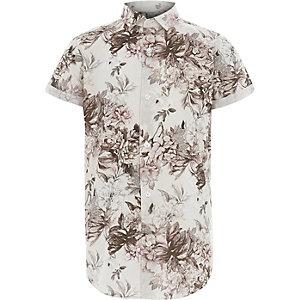 Wit overhemd met korte mouwen en bloemenprint voor jongens