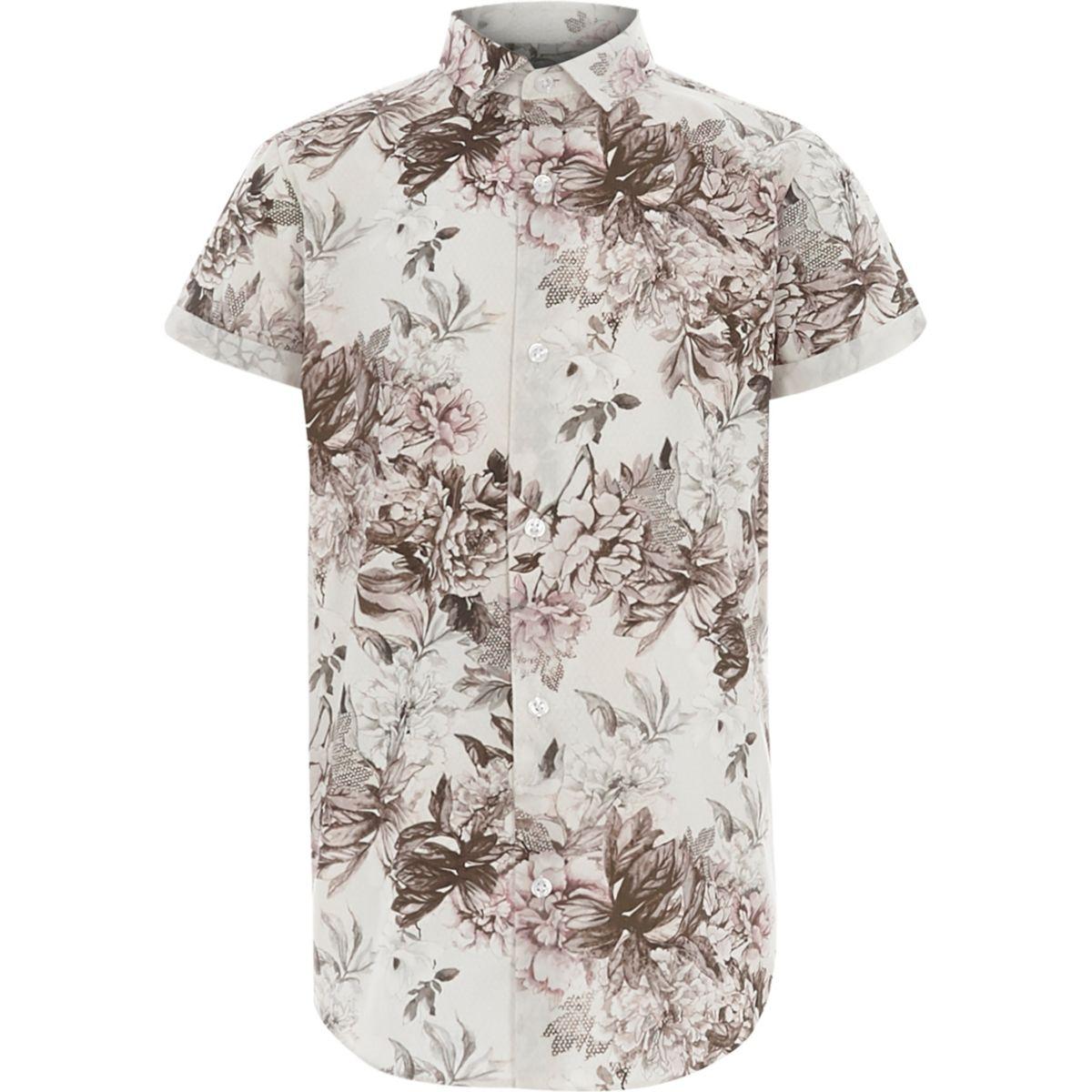 Boys white floral print short sleeve shirt