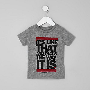 Mini boys grey 'it's like that' T-shirt