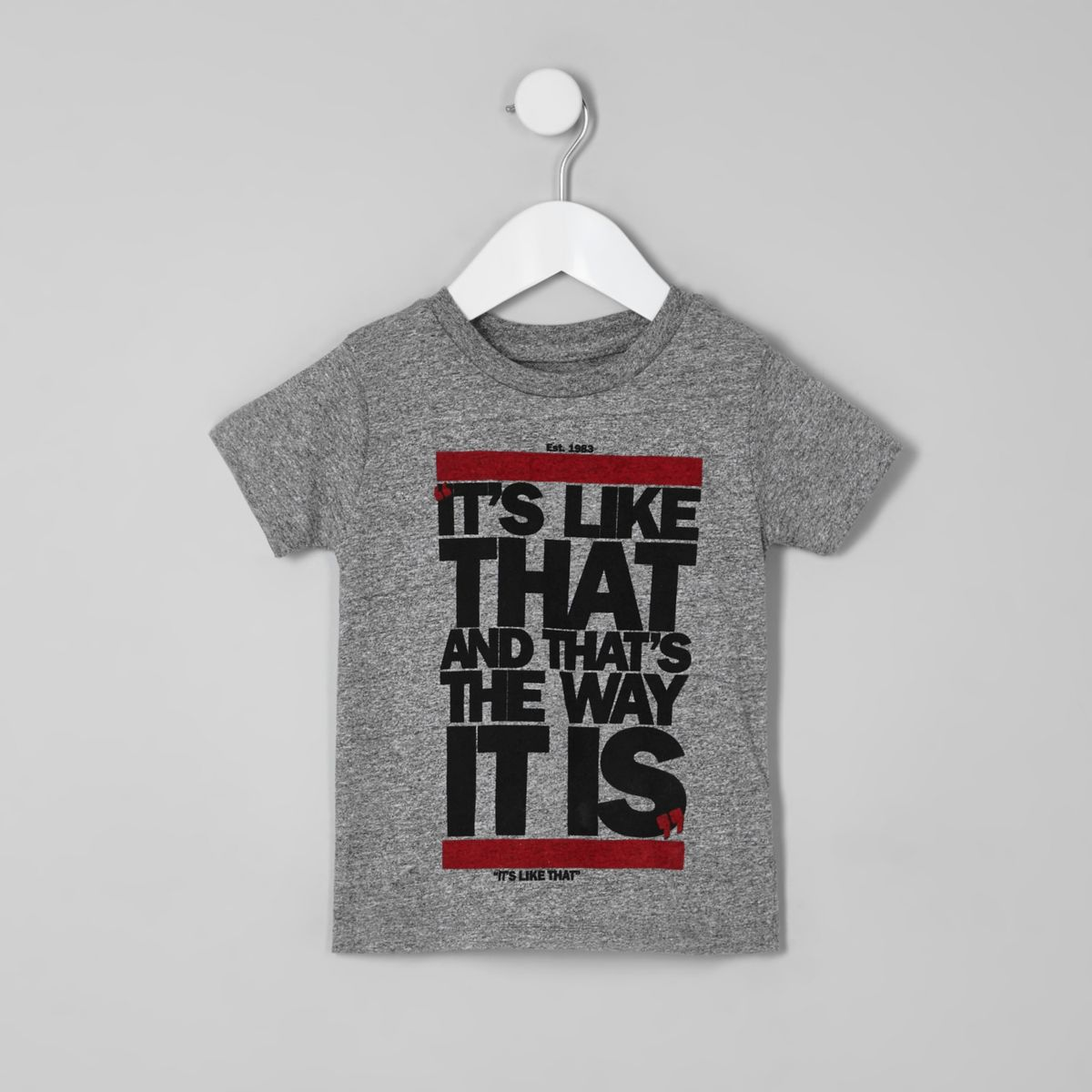 Mini boys grey 'it's like that' T-shirt