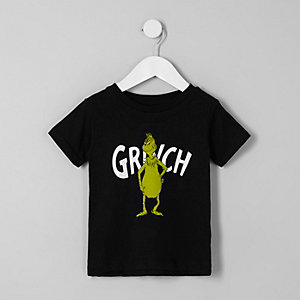 Mini boys black 'Grinch'  Christmas T-shirt
