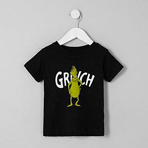 Mini - Zwart kerst-T-shirt met 'Grinch'-print voor jongens
