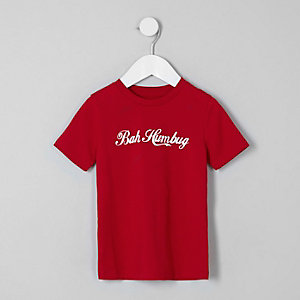 Mini boys red 'bah humbug' print T-shirt